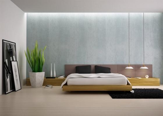 For the bedroom I Wood floor I Simple carpet I Low wooden bed frame.