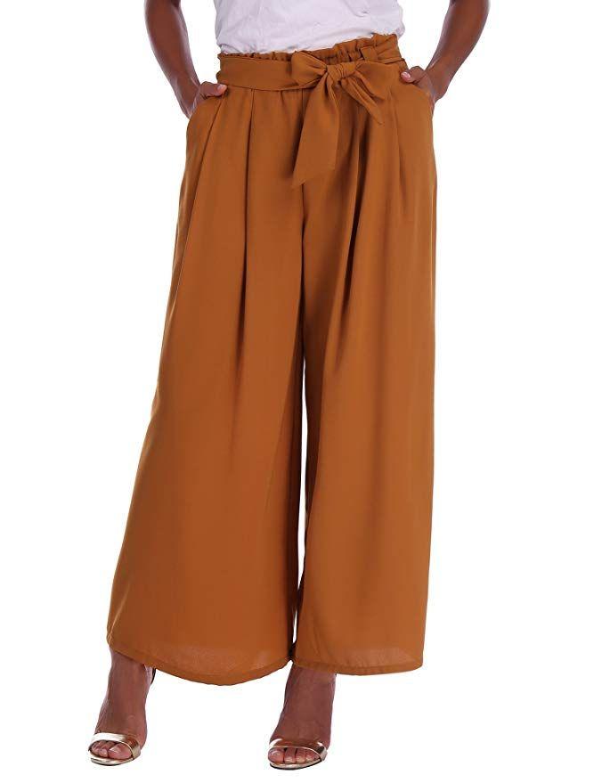 Pantalon Large Femme Palazzo Jambes Large Fluide Chic Evasé Elastiqué Taille  Haute Décontracté en Mousseline de Soie Grandes Tail… e93e77bf59d