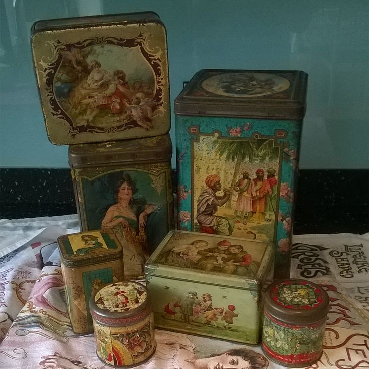 Collection of Victorian antique tin tea caddies and biscuit tins, soon to be added to my etsy shop, Tinternet