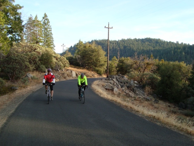 Dan & Mary riding from Evergreen down Mather Road (near Yosemite)-Jan. 2012Mary Riding, Mather Roads