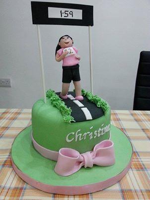 not my cake, not my picture, but I LOVE THE DECORATION!  run, cake, marathon, 5k, 10k, 13.1, 26.2, birthday, celebrate, girl