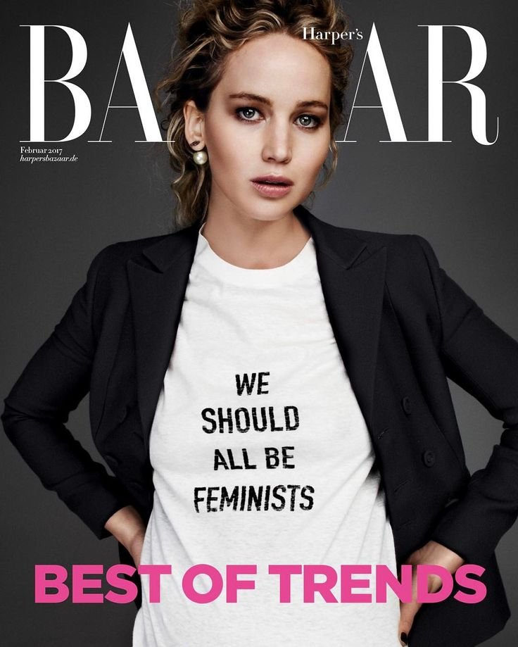 "Dior Official on Instagram: ""Our muse Jennifer Lawrence rocking the cover of @HarpersBazaarGermany in #MariaGraziaChiuri's 'We Should All Be Feminists' T-shirt from the Spring-Summer 2017 collection. ‎#DiorSS17"""