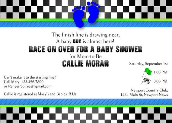 Baby Shower invitation for Racing fans    #Nascar