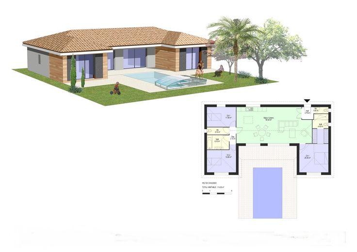 Maison bois en u recherche google maison pinterest for Recherche constructeur maison bois