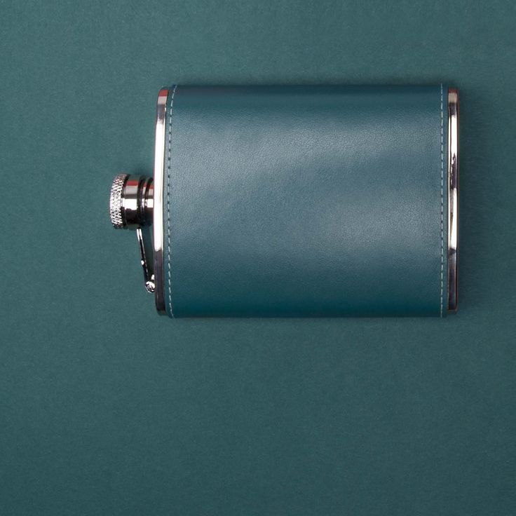 Ettinger London - Luxury Leather -Sterling Turquoise 6oz Captive Top Flask