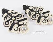 Elegant and full of finesse beige-black earrings made soutache technique