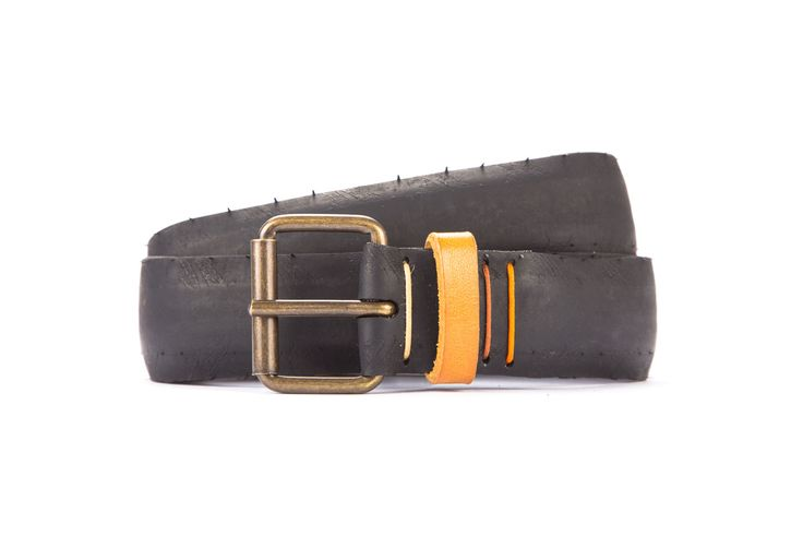 #2657 - Black belt from a spare race bicycle tyre, entirely handcrafted, iron branded and numbered. Yellow, leather belt loop. Strap folded up and stitched up with cotton colored strings.