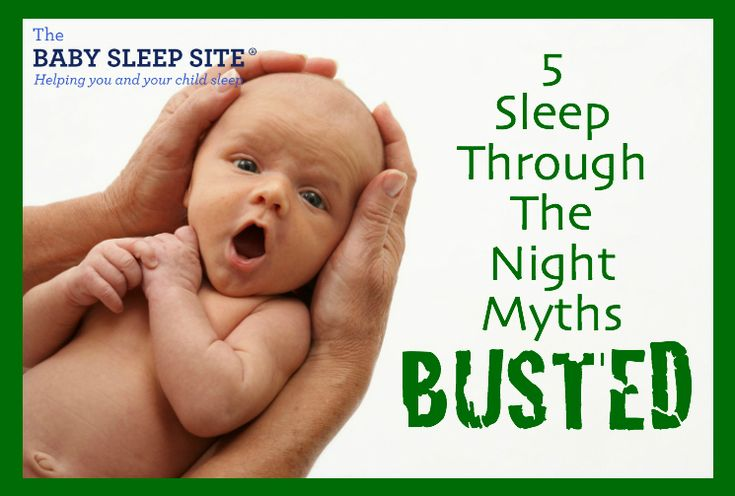"5 Myths About Babies Sleeping Through The Night - our list of the top 5 ""whoppers"" people will tell you about your baby's sleep, along with our thoughts on each!"