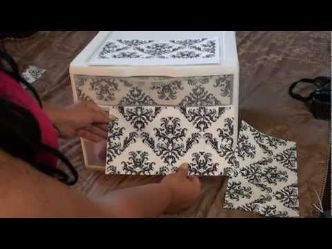 DIY Beautifying your Makeup storage plastic drawers totally cute!