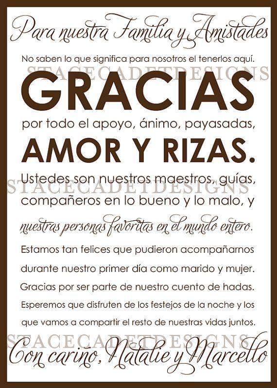 Custom Printable Spanish Wedding Thank You by StaceCadetDesigns, $12.00