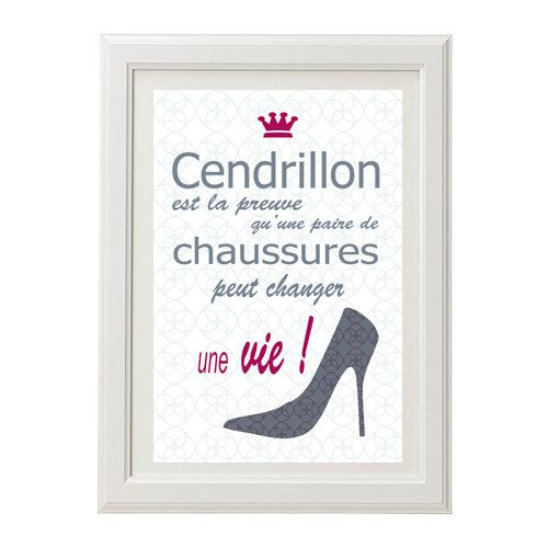 Affiche citation humour cendrillon poster printable for Art minimaliste citation