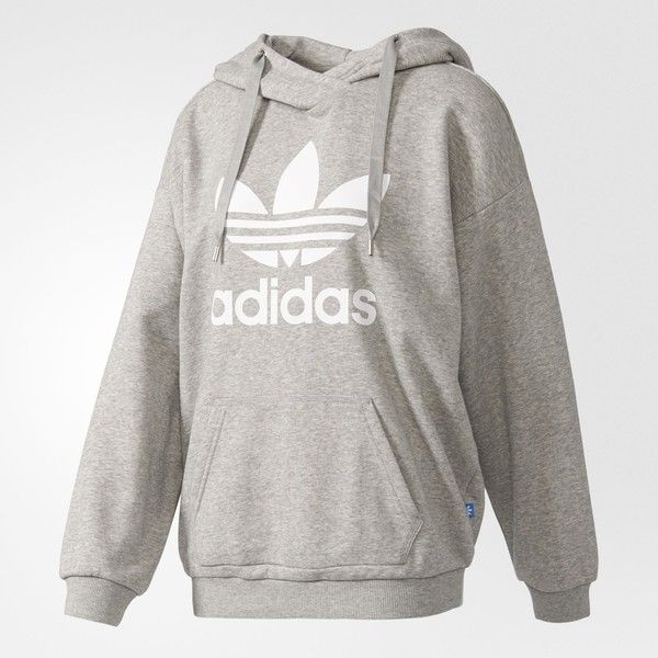 adidas Trefoil Hoodie - Grey | adidas UK ($61) ❤ liked on Polyvore featuring tops, hoodies, grey hoodies, hooded sweatshirt, adidas top, grey hoodie and gray top