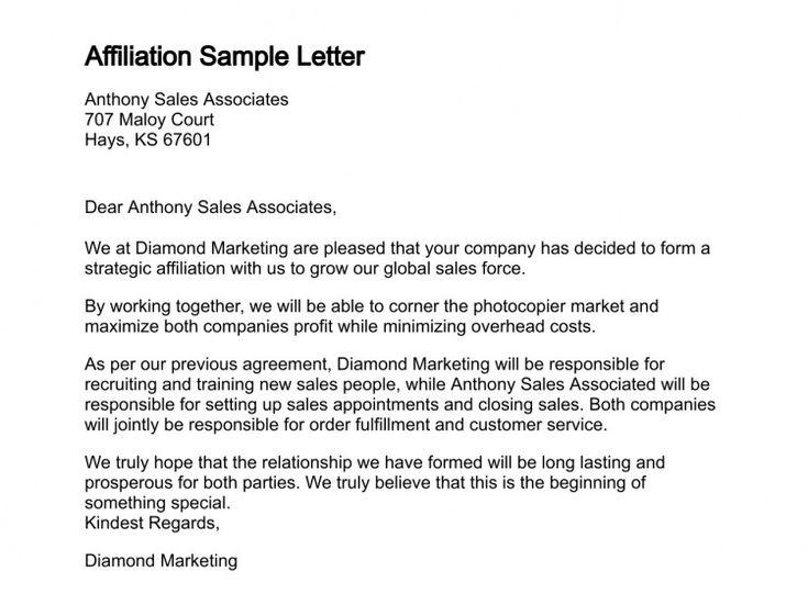 Affiliation sample letter formal letter writing