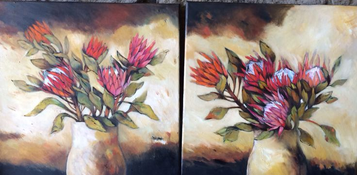 Two protea paintings