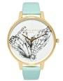 Olivia Burton - Orologio con cinturino in pelle turchese e quadrante con stampa di farfalla