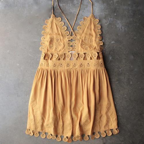 summer lace mini dress - chloe yellow - shophearts - 1