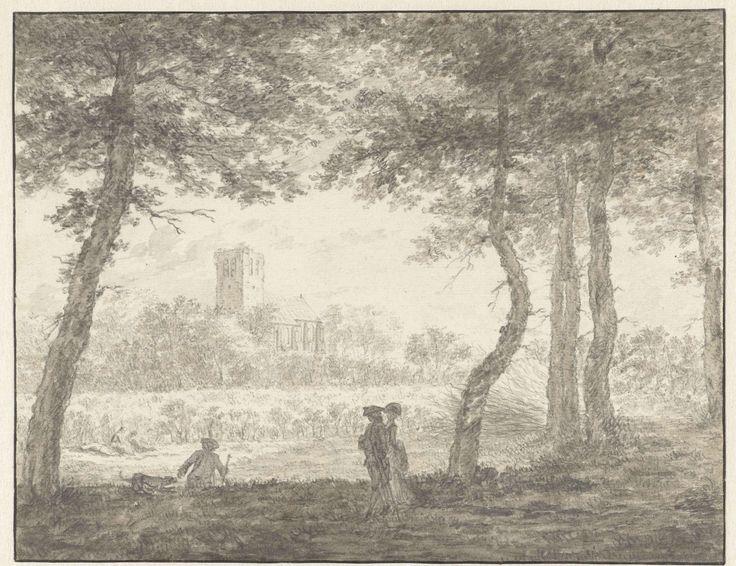 Jacob Cats (1741-1799)   Muiderberg, van de Hooge Weg af gezien, Jacob Cats (1741-1799), 1762  