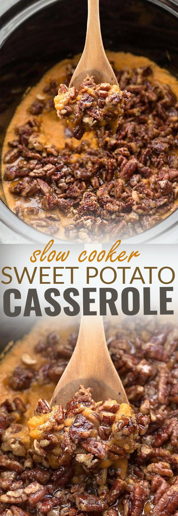 Healthy Paleo Slow Cooker Sweet Potato Casserole is the perfect easy side dish for Thanksgiving and the holidays. Best of all, it's made entirely in the crock pot, saving you valuable oven space. No preboling the potatoes required!