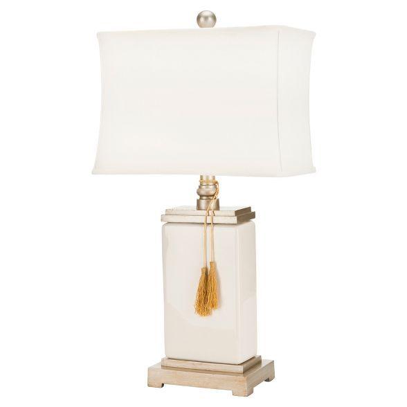 32 Amiliana Glazed Tel Lamp Cream