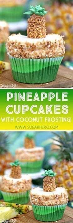 Pineapple Cupcakes - Pineapple Cupcakes - fun and tropical...  Pineapple Cupcakes - Pineapple Cupcakes - fun and tropical pineapple cupcakes with coconut frosting. Plus an adorable buttercream pineapple on top! | From SugarHero.com Recipe : http://ift.tt/1hGiZgA And @ItsNutella  http://ift.tt/2v8iUYW