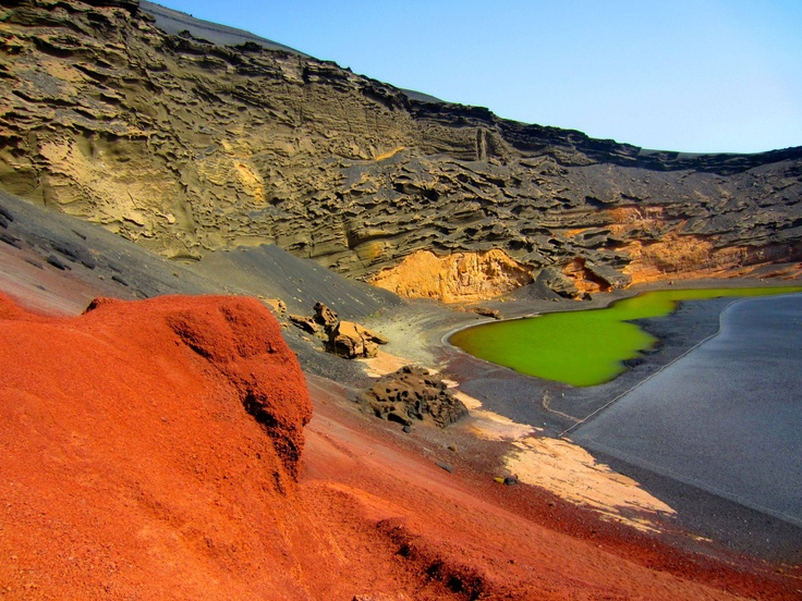 The Green Lagoon, El Golfo, Lanzarote, Canary Islands, Spain