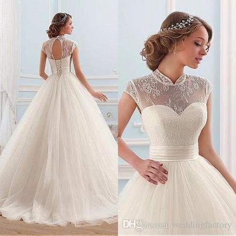 Elegant Ball Gown Wedding Dresses Princess Sheer High Neck Cap Sleeves Cut Out Corset Back Soft Tulle Bridal Gowns 2018