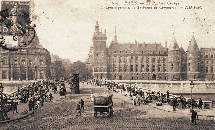 Le pont au Change et le marché aux Fleurs, vers 1905.