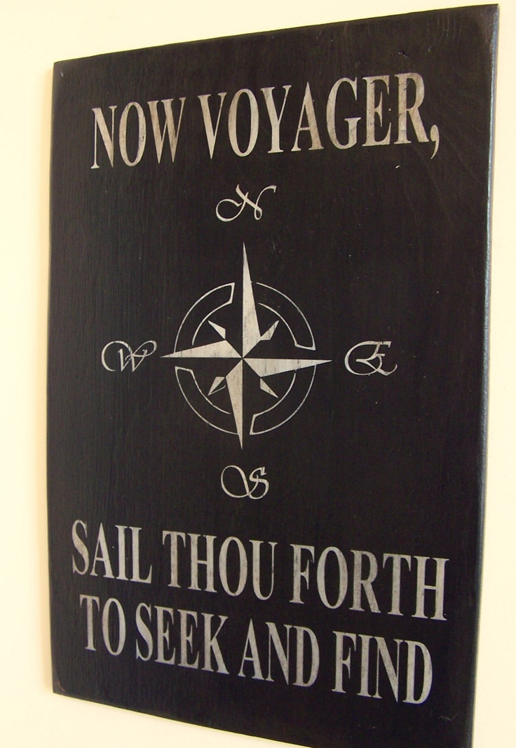 Walt Whitman Quote Compass Rose Voyager Sail Wood Handpainted Wood Sign. $36.00, via Etsy.