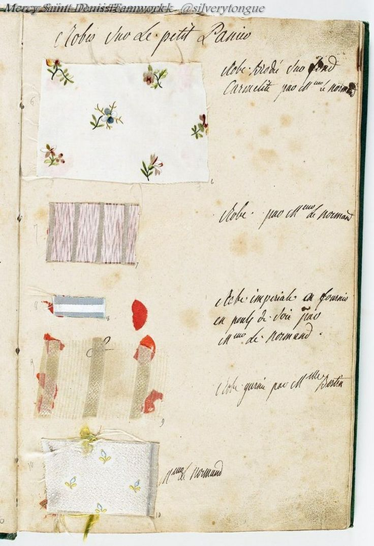 Labelleotero: €� Vivelareine: €� A Page From Marie Antoinette's Wardrobe Book  From [credit: Archives Nationales] €� Just Fyi: You Can Buy A Reproduction  Of La