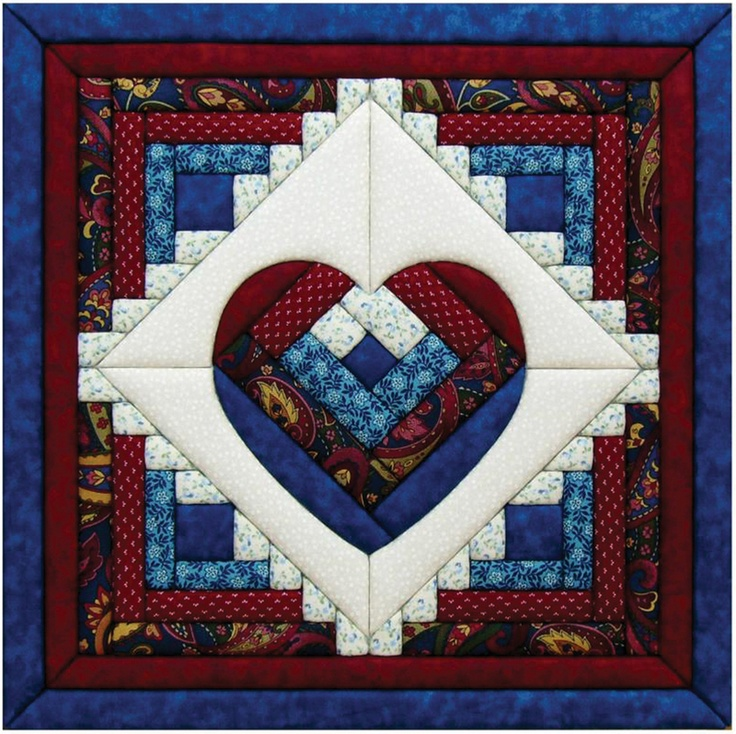 "Image Detail for - Quilt Kits - Log Cabin Heart Quilt Magic Kit - 15-1/2""X15-1/2"""
