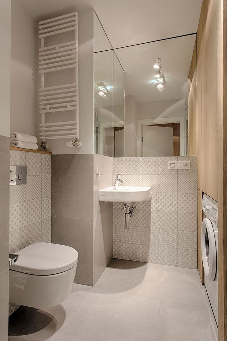 Warm minimalism bathroom / wood / Tagina Deco d'Antan tiles.