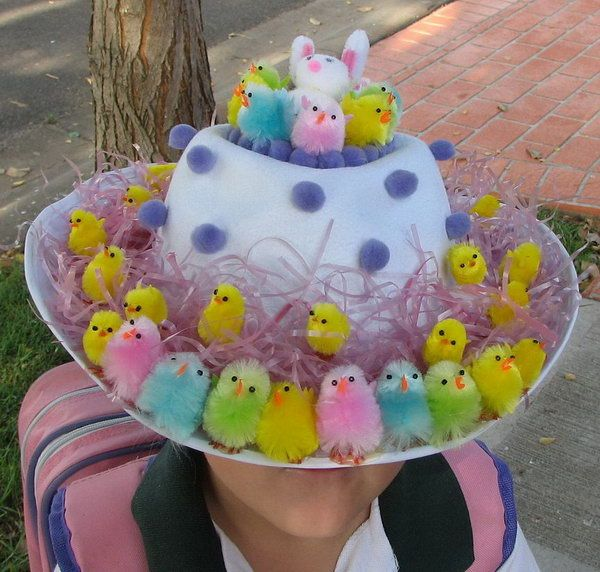 Chicken Easter Hat. Use a crap load of colorful chickens and some purple dots to decorate your Easter hat. It turns out really amazing. It's wonderful to go for the Easter hat parade. http://hative.com/cool-easter-bonnet-or-hat-ideas/