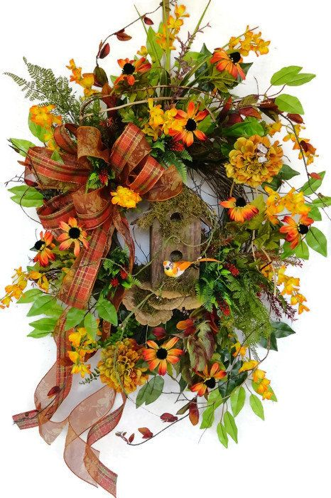 Hold for Karen Large Fall Wreath Fall Door by SistersFloralandGift