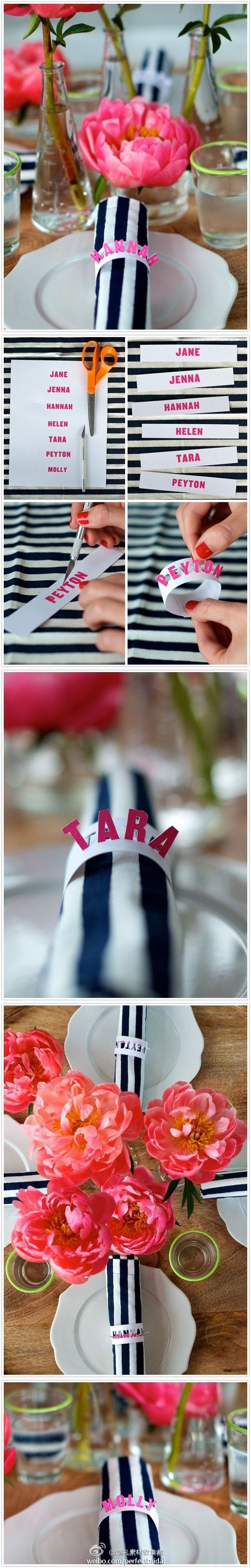 Does anyone have time to do this? It is very impressive... cut out name napkin rings