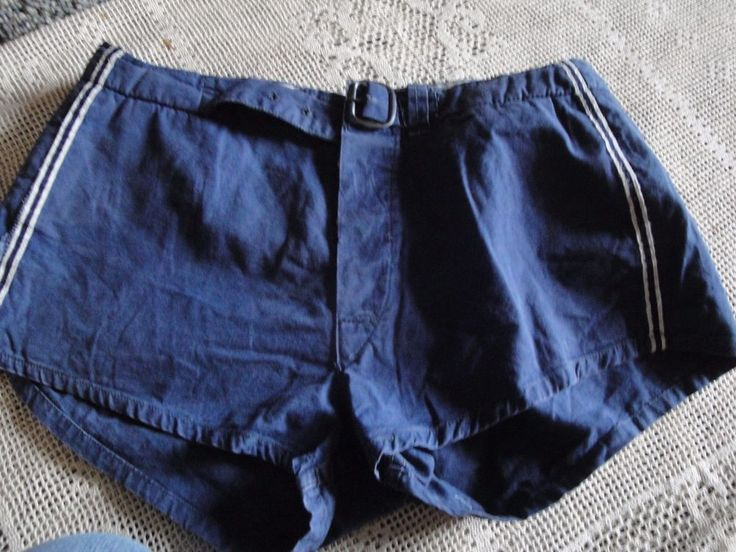 Vtg 40s 50s Blue Cotton Button Fly Belted  GYM SHORTS WRESTLING SHORTS SIZE 32