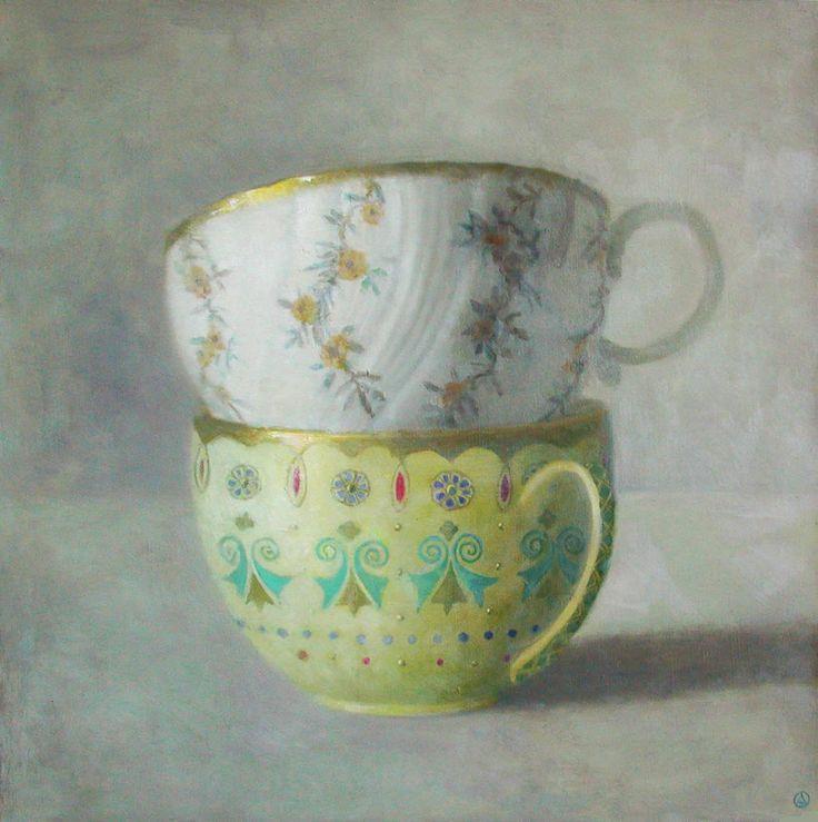 White and Yellow Cups Oil Olga Antonova