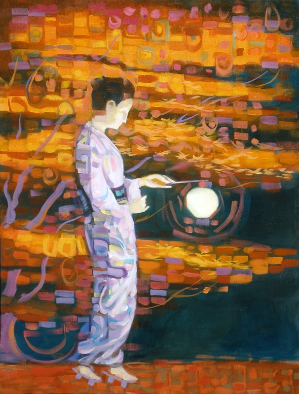Woman with Lantern, 25x25in, Marty McCorkle