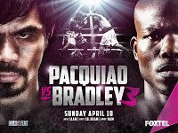 "Manny Pacquiao VS Timothy Bradley III Replay   Manny Pacquiao VS Timothy Bradley III full fight replay. Manny Pacquiao vs. Timothy Bradley III also known as ""PacBrad III"" was a boxing match on April 9 2016 at the MGM Grand Garden Arena Las Vegas Nevada for vacant WBO International welterweight title bout in the welterweight division. The bout was on HBO PPV. According to Pacquiao this was his last fight as a professional.[3] The winner of the bout would also be awarded a Special WBO…"