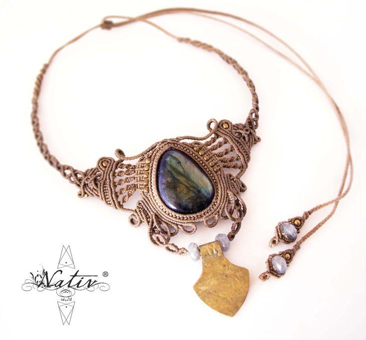 Macrame Necklace with Labradorite  #macrame #handmade #stones #macramejewelry #handmadejewelry #labradorite #brass #Nativ #NativWorld