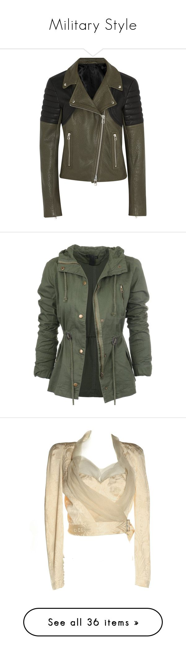 """""""Military Style"""" by milah-monroe ❤ liked on Polyvore featuring outerwear, jackets, coats, coats & jackets, leather jackets, army green, zipper jacket, army green jacket, lapel jacket and rider jacket"""