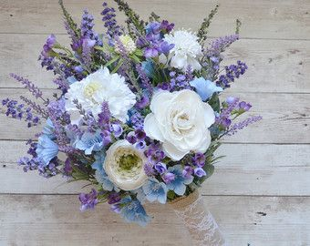 Lavender and Lilac wildflower bouquet with door blueorchidcreations