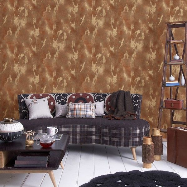 Cowhide Ayreshire Tan Feature Wall Wallpaper