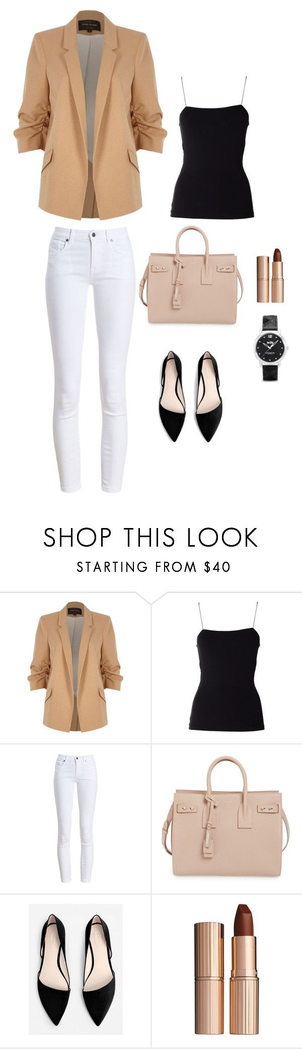 Back To Work Work by natasha-esprecielo on Polyvore featuring T By Alexander Wang, River Island, Barbour, MANGO, Yves Saint Laurent, Coach and Charlotte Tilbury