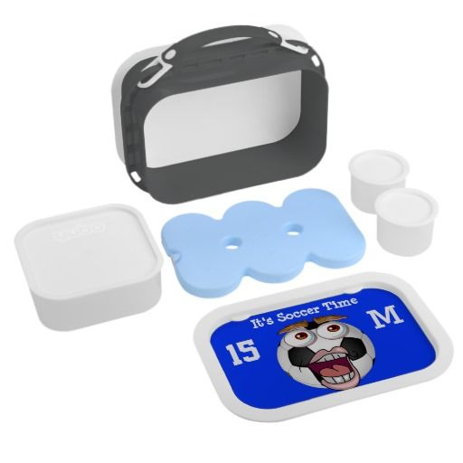 """Funny PERSONALIZED Soccer Lunch Boxes for Boys. Type in his NAME in place of """"It's Soccer Time"""" and his JERSEY NUMBER and MONOGRAM for his very own Personalized Lunch Boxes for Kids.  Gifts CLICK this LINK: http://www.zazzle.com/littlelindapinda/gifts?cg=196770565308814581&rf=238147997806552929  Little Linda Pinda Designs ALL GIFTS CLICK HERE: http://www.Zazzle.com/LittleLindaPinda*/  See the matching soccer drawstring bags. Soccer Lunch Box Personalised."""