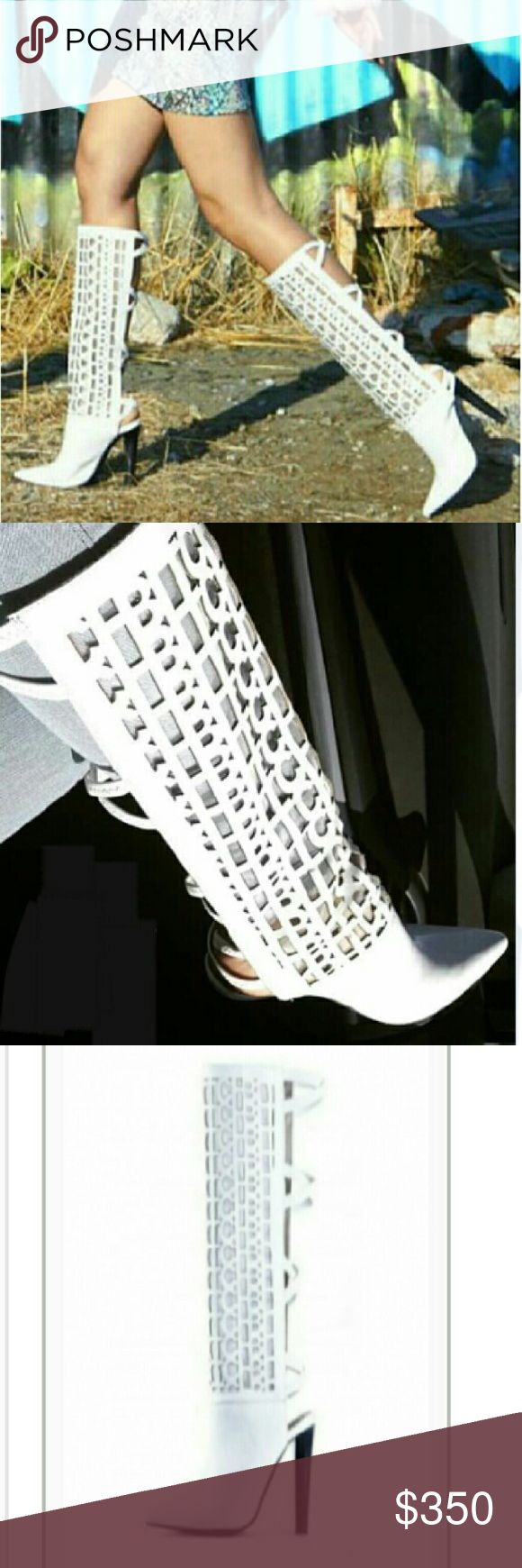 """JEFFREY CAMPBELL Leather """"Major Bitch"""" Boots- NEW ***NO TRADES WHATSOEVER***  NOT FOR THE FAINT OF HEART.  These boots have """"Bitch"""" written all over them, literally. Rock star style white laser cut leather over mesh allows your skin to breathe in these. Lettering spells BITCH. Open back with elasticized leather  crossed straps. Will accommodate someone with a regular or wide calf. BRAND NEW, NEVER WORN SIZE: 9 1/2 No original box but will be shipped in a boot box with dust bag.  I work in…"""