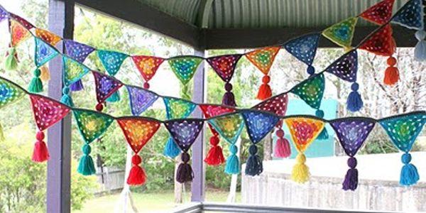 Slingers haken (Libelle - gratis patroon), Nederlands, #haken, granny square, driehoek, vlaggetje, haakpatroon