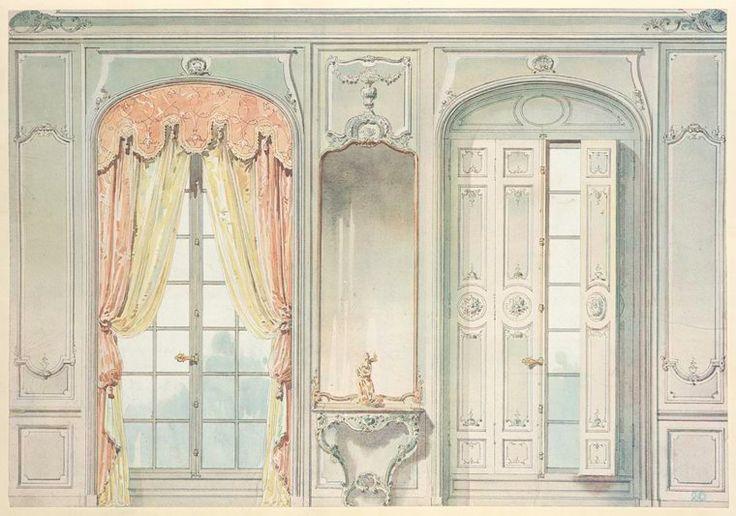 Salon louis xv face des fen tres don t l 39 une montre for 18th century window treatments