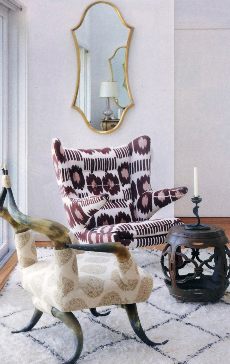 Oh yeah! Custom upholstered Victorian horn chair in Camel Isabelle Blockprint and Hans Wegner armchair in Brown Collins Ikat on a vintage Moroccan carpet in Madeline Weinrib's Hamptons Home - via Hamptons Cottages & Gardens: Mirror, House Tours, Cottages Gardens, Horns Chairs, Cottage Gardens, Home Interiors Design, Madeline Weinrib, Hampton Cottages, Africans Style
