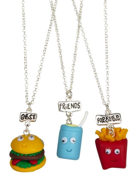BFF Burger, Fry And Drink Necklaces