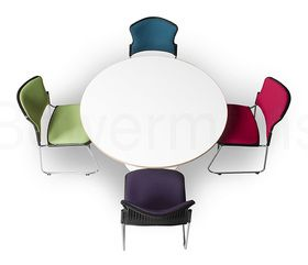 Meeting table on white disc base Available in 900 or 1200 diameter